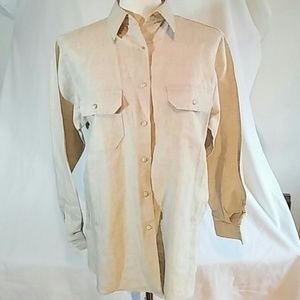 Beige linen/cotton button top. Size 6